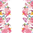 cute invitation card with exotic flowers and butterflies. waterc