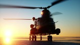 Military helicopter chinook, wonderfull sunset. Realistic animation GI.