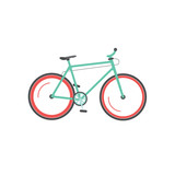 Bicycle vector illustration isolated on white background, flat style mountain sport bike moving, cycle icon