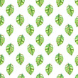 retro seamless texture with green leaves. watercolor painting