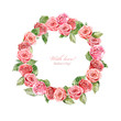 wreath with roses. watercolor painting.