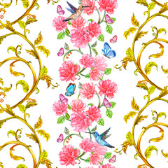 rich vertical seamless border with roses and butterflies, birds. © Aloksa