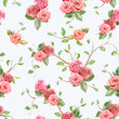 seamless texture with roses and floral twigs. watercolor paintin