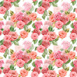seamless texture with roses. watercolor painting