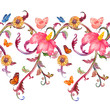 horizontal seamless border with fantasy floral. watercolor paint