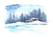 Patrón de invierno de la acuarela. País paisaje. La imagen muestra una casa, abeto, pino, bosque, nieve y derivas.