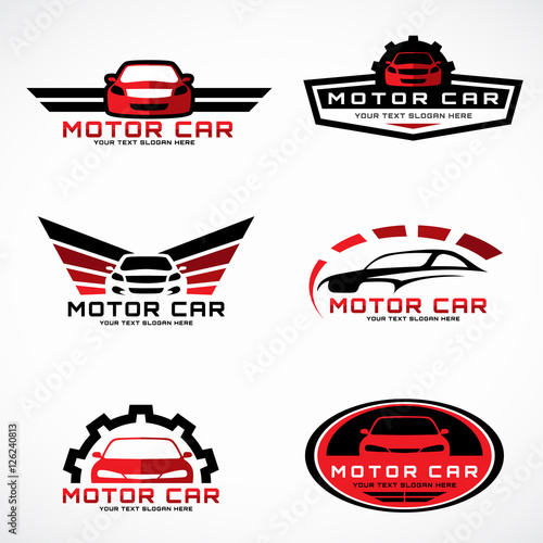 Red And Black Car Wings Logo For Business And Service Vector Set