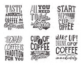 Set of coffee lettering. Vector illustration with hand drawn quote about coffee. Slogan used for advertising cafe, coffee shop, coffee house or poster, card and banner.