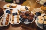 Close-up of various sweet food at counter