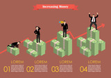 Increasing cash money with businessman in various activity infog
