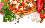 Pizza with mushrooms, sausage and vegetables on white background.