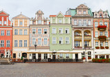 renaissance houses on the central market square in Poznan, Poland