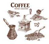 Coffee set. Hand drawn collection in vintage style. Vector illustration.  - 126271806
