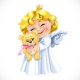 Christmas tree decorations toy  little blond angel hugging a ted