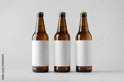 Fototapeta Beer Bottle Mock-Up - Three Bottles. Blank Label
