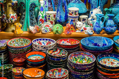 Colorful Turkish dishes in the Grand Bazaar of Istanbul, Turkey Poster