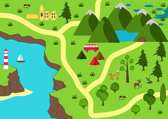 Cartoon adventure map. Wild nature background