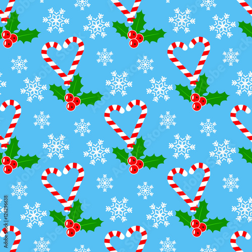 Materiał do szycia Candy cane and mistletoe, Seamless romantic pattern for Christmas time