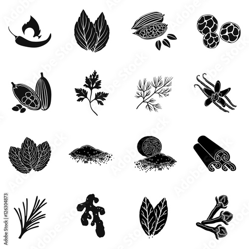 Herb and spices set icons in black style. Big collection of herb and spices vector symbol stock illustration