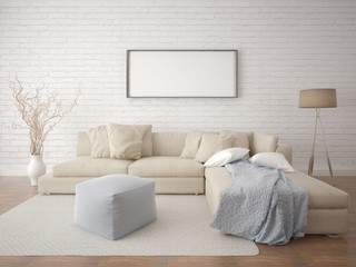 Mock up a living room with a hipster background.