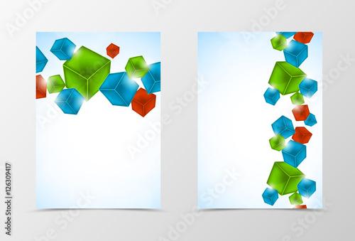 Deurstickers Geometrische dieren Front and back geometric flyer template design