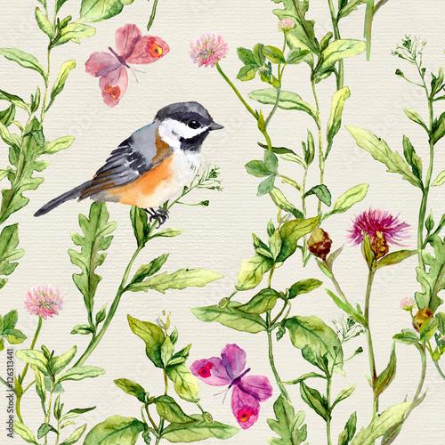 laka-ziola-kwiaty-motyle-ptak-powtarzajacy-sie-ziolowy-wzor-akwarela
