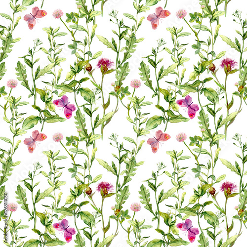 Spring meadow: grass, flowers with butterflies. Watercolor repeating pattern - 126314030