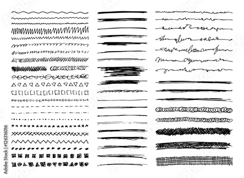 Set of hand drawn line borders, sketch strokes, scribbles and design elements isolated on white. Doodle style brushes. Monochrome vector eps8 illustration. - 126316016