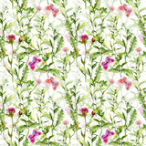 Meadow: flowers and butterflies. Watercolor repeated pattern