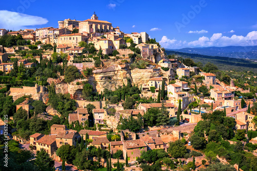 Poster Gordes historical hilltop town, Provence, France