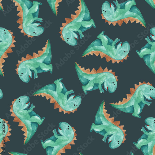 Cotton fabric watercolor pattern of green dinosaur