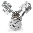 Leinwanddruck Bild Crankshaft pistons engine V6 mechanism