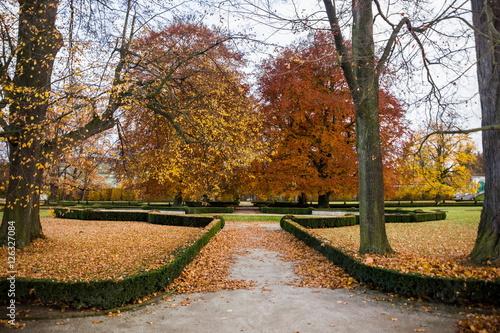 Aluminium Fyle Royal park in Cesky Krumlov, Czech republic.