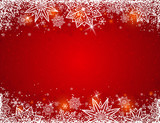 Red background with  frame of snowflakes and stars,  vector