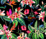 Seamless tropical pattern. Hand painted watercolor exotic plants and birds, on black background. Textile design.
