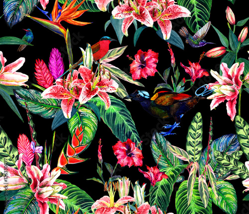 Seamless tropical pattern. Hand painted watercolor exotic plants and birds, on black background. Textile design. - 126330497