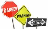 Danger Warning Caution Stop Yield Road Street Signs 3d Illustrat