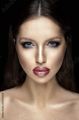 Beautiful woman portrait with shiny lipstick. Poster