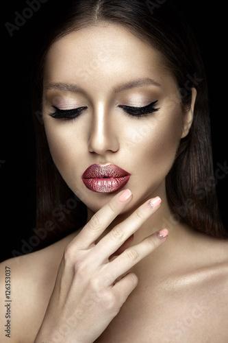 Poster Beautiful woman portrait with shiny lipstick.