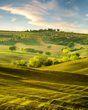 the famous Tuscan landscape at sunrise