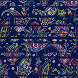 Seamless paisley pattern on striped scribble background. Ethnic floral motif
