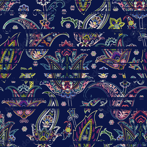 Seamless paisley pattern on striped scribble background. Ethnic floral motif - 126363457