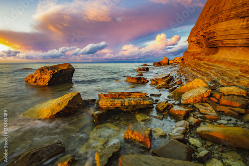 Foto op Canvas Lavendel dynamic and romantic sunset over the Adriatic Sea