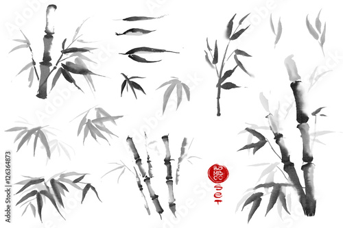 Bamboo leaves set. Watercolor and ink illustration in style sumi-e. Oriental traditional painting.