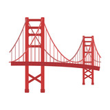 Fototapety Golden Gate Bridge icon in cartoon style isolated on white background. USA country symbol stock vector illustration.