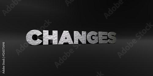 CHANGES - hammered metal finish text on black studio - 3D rendered royalty free stock photo. This image can be used for an online website banner ad or a print postcard.
