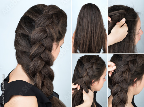 Foto op Canvas Kapsalon hairstyle braid to one side tutorial