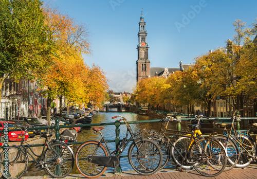 Keuken foto achterwand Noord Europa Amsterdam canal and Westerkerk