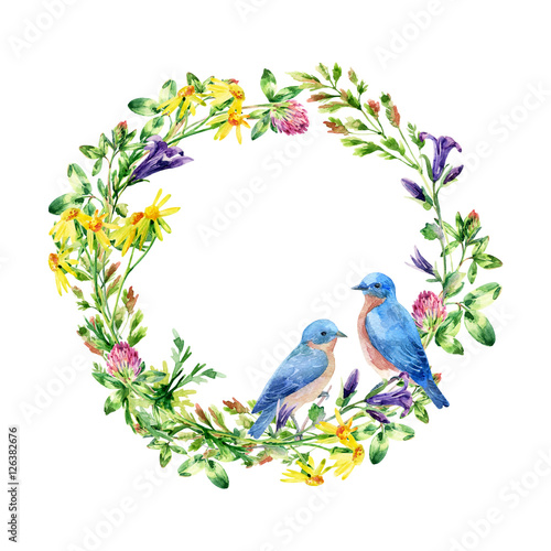 Watercolor wild flowers and small birds wreath © Tanya Syrytsyna