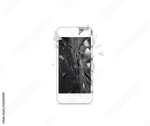 Broken mobile cell phone screen, scattered shards ...